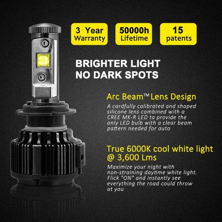 H7 turbo led v16 cree 60w/LED canbus ζεύγος